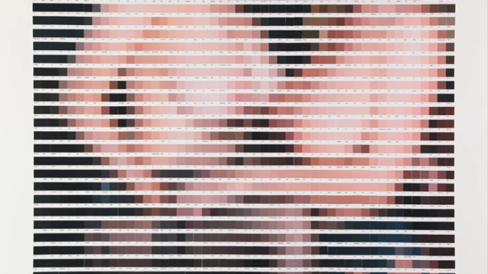 Nick Smith,  Tipping the Velvet, 1,150 color chip collage. Image courtesy of the artist.